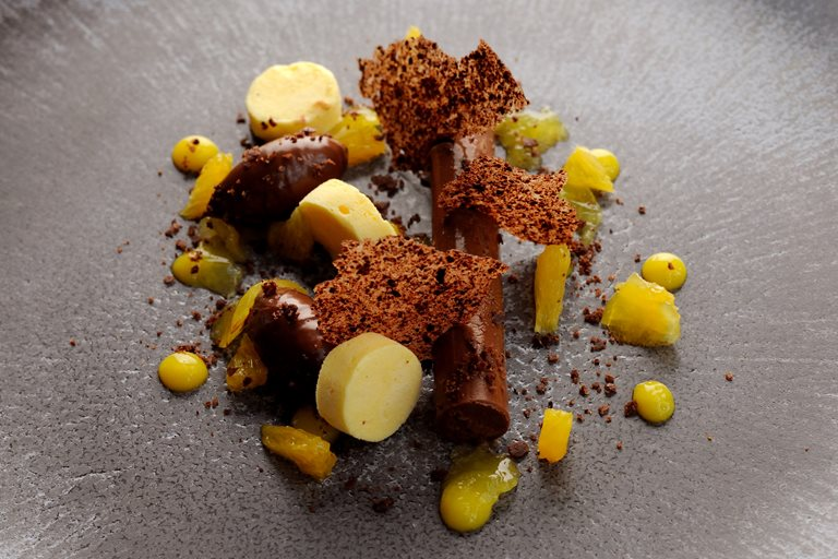 Dark Chocolate And Orange Ganache Orange Parfait And Cocoa Nib Tuile