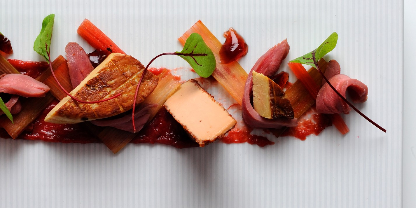foie gras recipe with rhubarb duck breast great british chefs. Black Bedroom Furniture Sets. Home Design Ideas