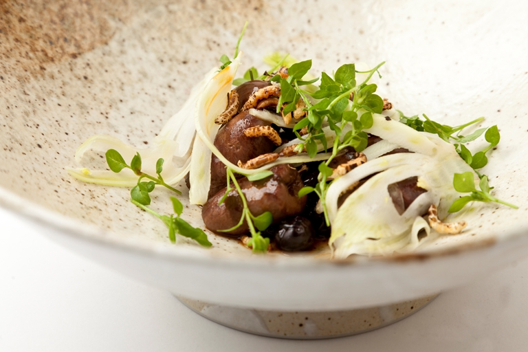 Duck hearts with pickled blueberries, fennel and wild rice