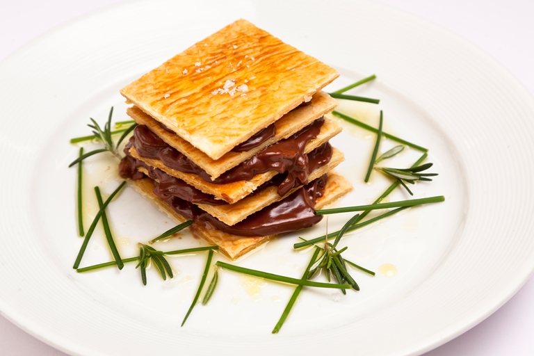 Dark chocolate and wild mushroom millefeuille