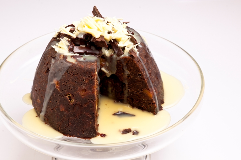Three-chocolates Christmas pudding