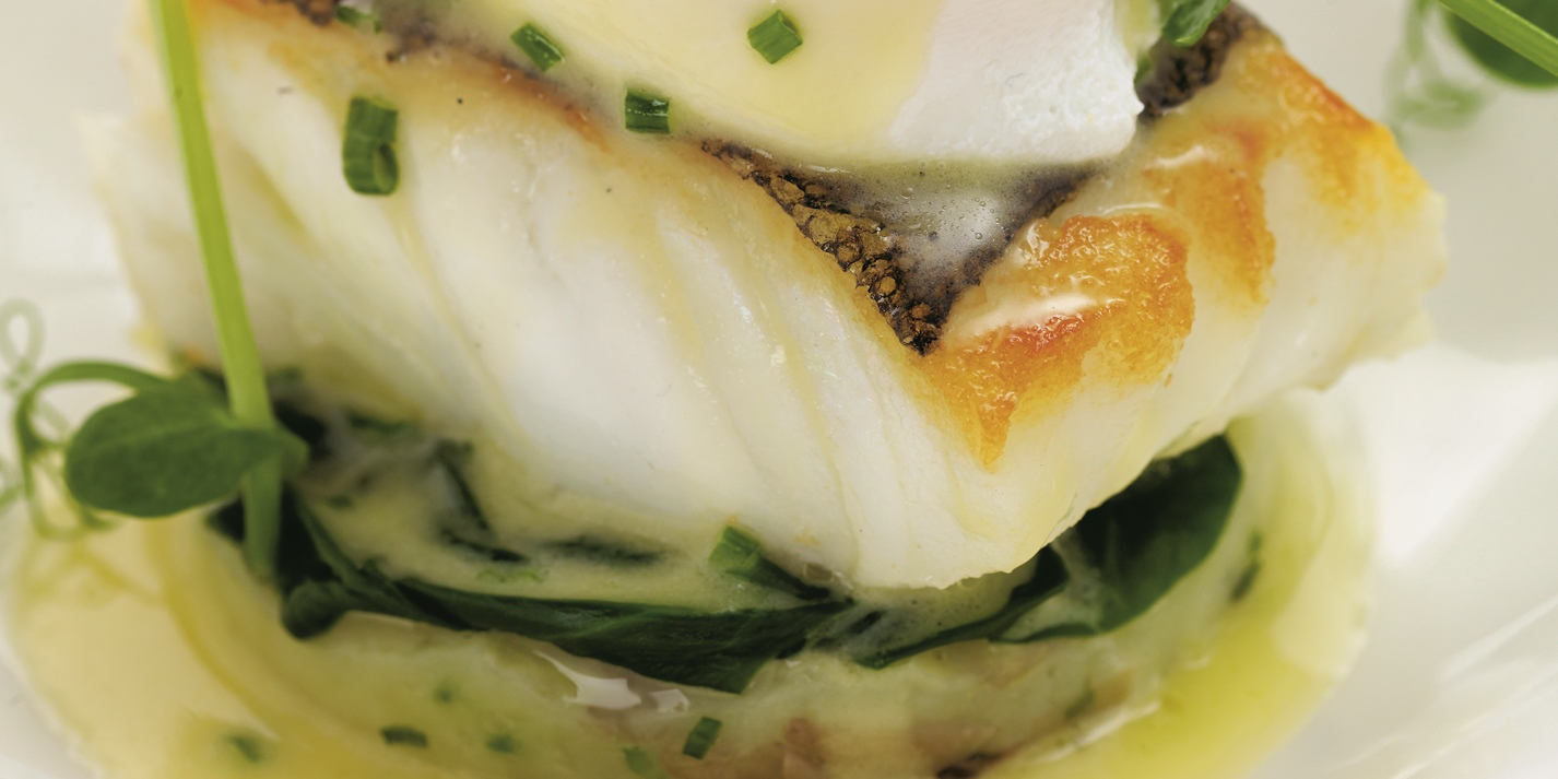 Cod Fillet Recipe Poached Egg Amp Jersey Royals Great British Chefs