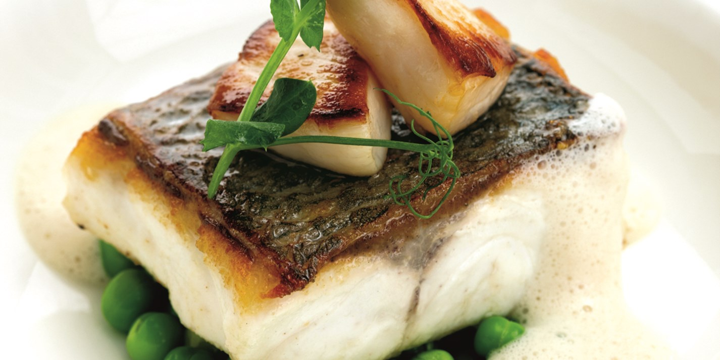 Sea bass fillet recipe with jersey scallops great for Turkish sea bass recipe