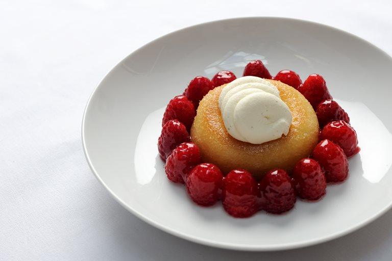 Soaked savarin with Scottish raspberries