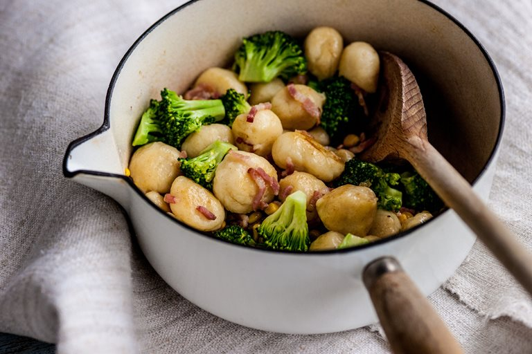 Potato gnocchi with broccoli, bacon and sweetcorn