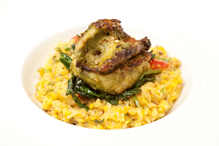 Green-spiced turkey breast with moong kedgeree