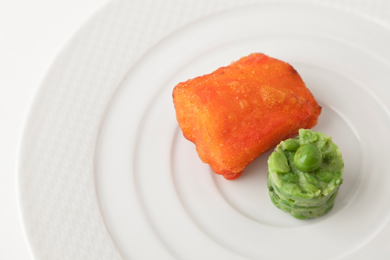 Amritsari cod with garlic and green pea chutney