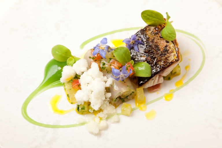 Mackerel, horseradish snow and cucumber purée