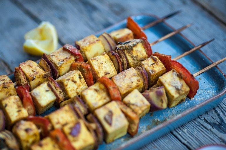 Paneer and red pepper skewers