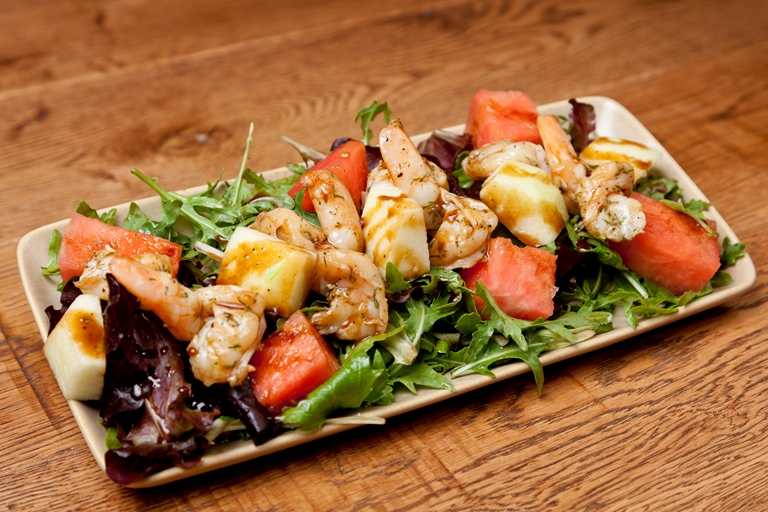 Prawn, melon and rocket salad