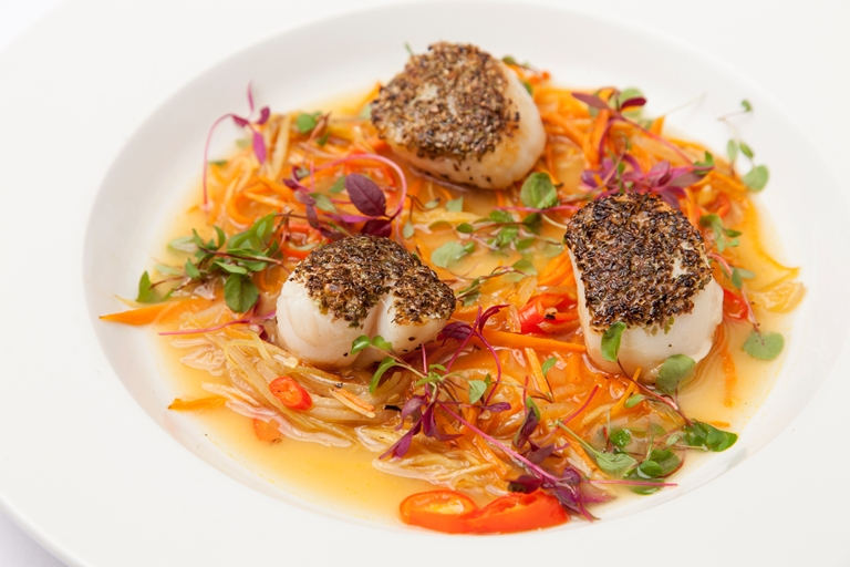 Scallops with seaweed and miso kombu broth
