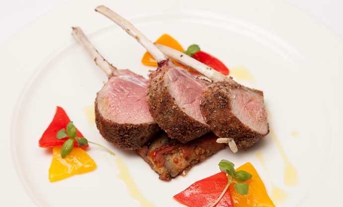 Rack of lamb with shony seaweed crust, aubergine byaldi and confit peppers