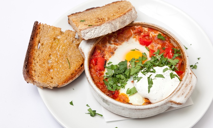 Turkish menemen with sumac yoghurt