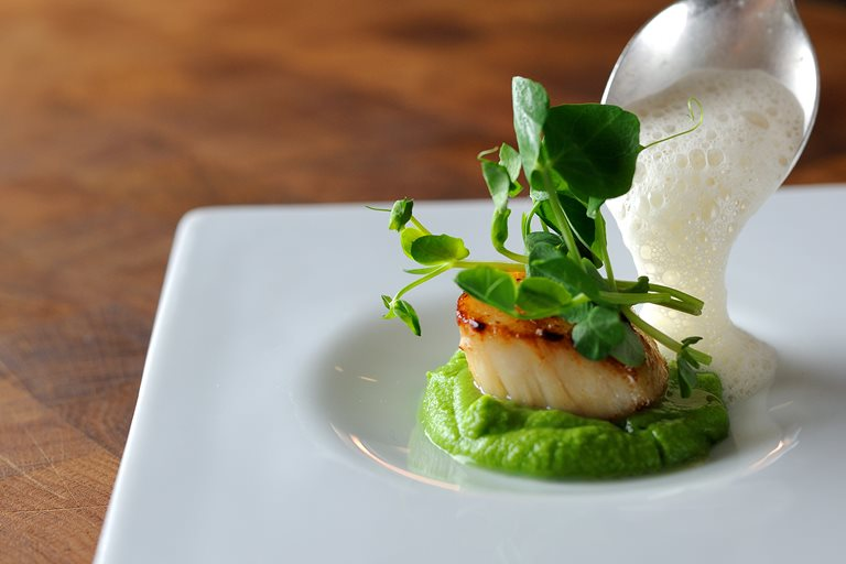 Scallops, pea purée, shoots and cumin foam