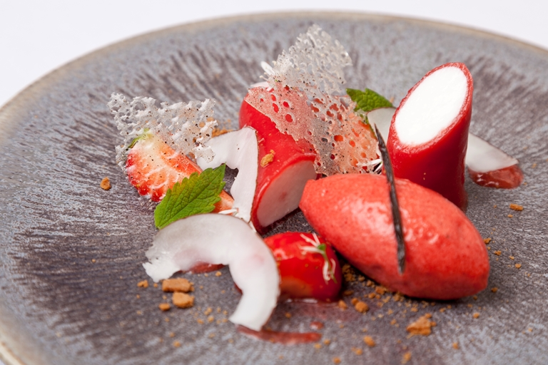Coconut panna cotta recipe great british chefs coconut panna cotta with strawberry gel strawberry sorbet and cut strawberries forumfinder Images