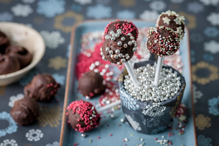 Chocolate truffle lollipops