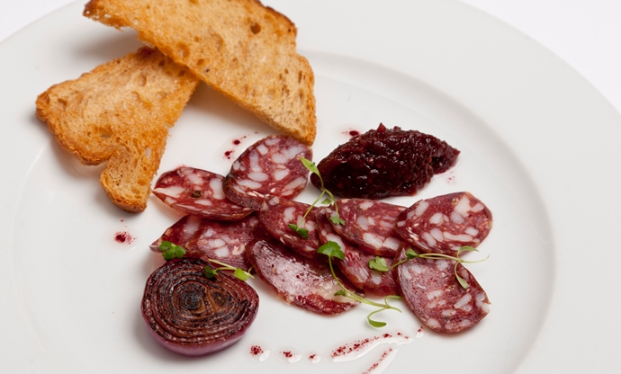 Venison salami with red onion and sloe gin marmalade, grilled sourdough