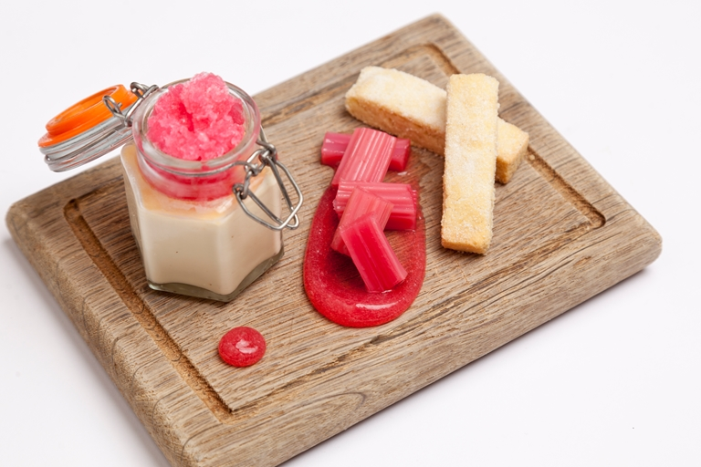Baked custard and rhubarb granita