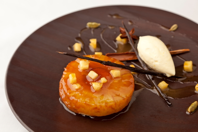 Pineapple upside down cake recipe great british chefs pineapple upside down cake spiced rum caramel and devonshire clotted cream forumfinder Choice Image