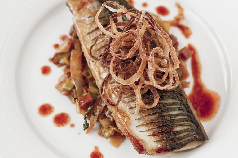 Mackerel Fillet Amp Chorizo Braised Leeks Great British Chefs