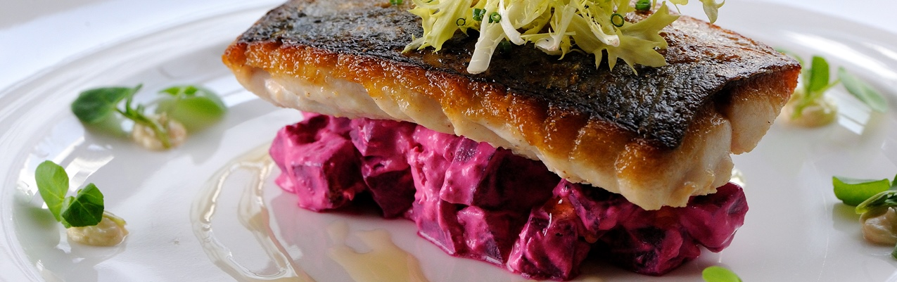 Seared mackerel with beetroot, horseradish and watercress