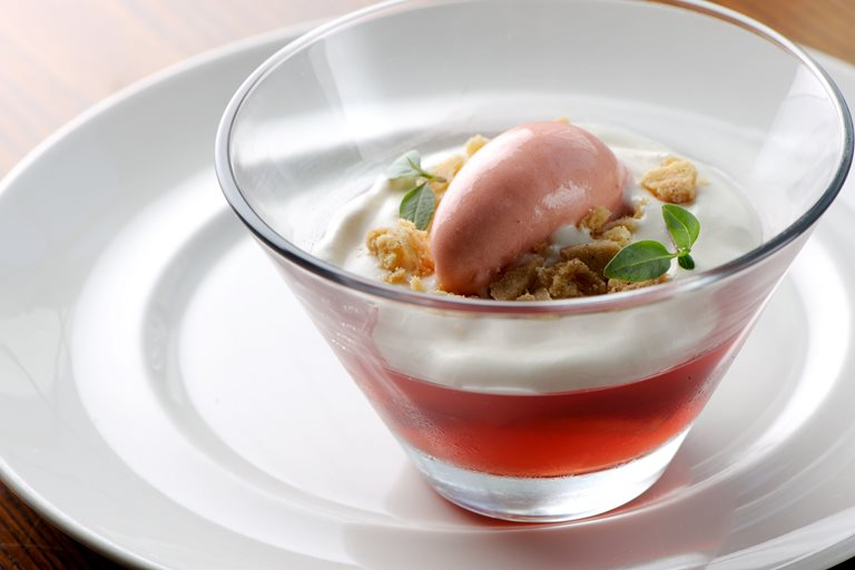 Strawberry jelly with elderflower cream and strawberry sorbet
