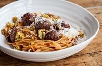 Spaghetti and meatballs with mini garlic bites