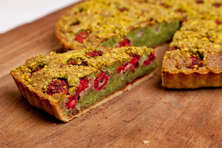 Pistachio and raspberry Bakewell tart