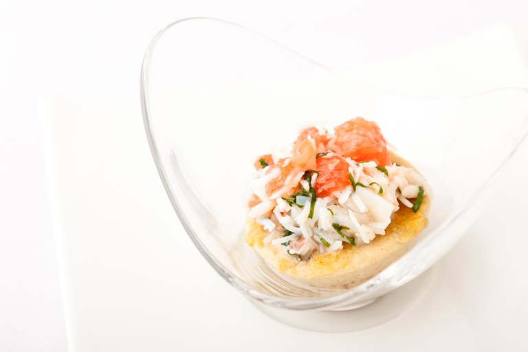 Crab custard, pink grapefruit, crab and mint salad