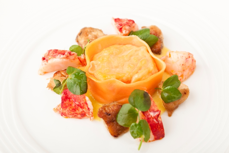 Lobster tortelloni, roast chicken wings and sweetcorn purée