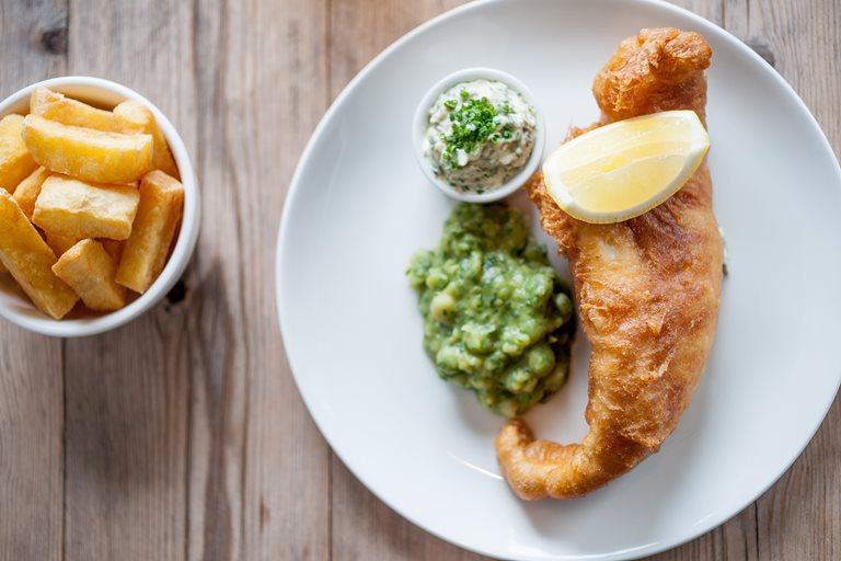 Beehive fish and chips, mushy peas, tartare sauce