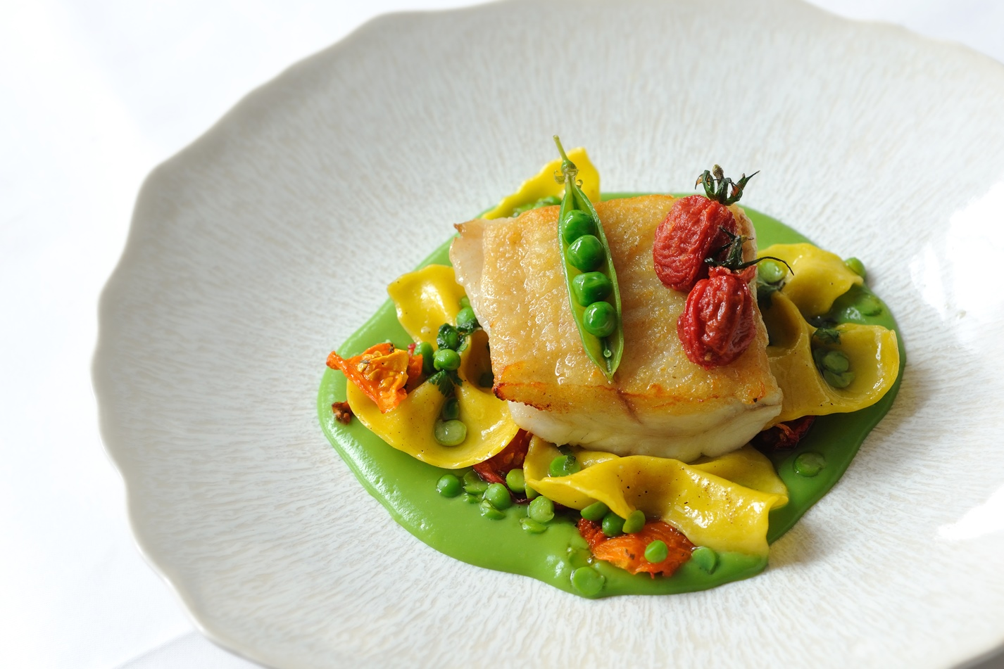 Brill, English peas, heirloom tomatoes, farfalle
