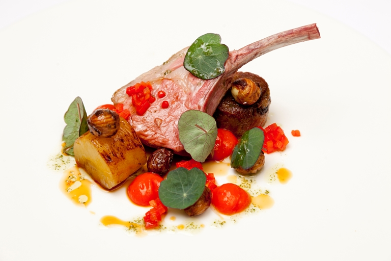 Best end and shoulder of salt marsh lamb, red pepper, pineapple, mint oil and cobnuts