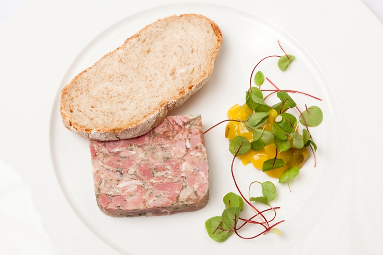 No-fuss gammon terrine with piccalilli and spelt bread