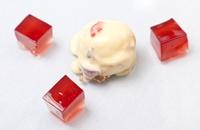 Port and claret jelly with tutti-frutti ice cream