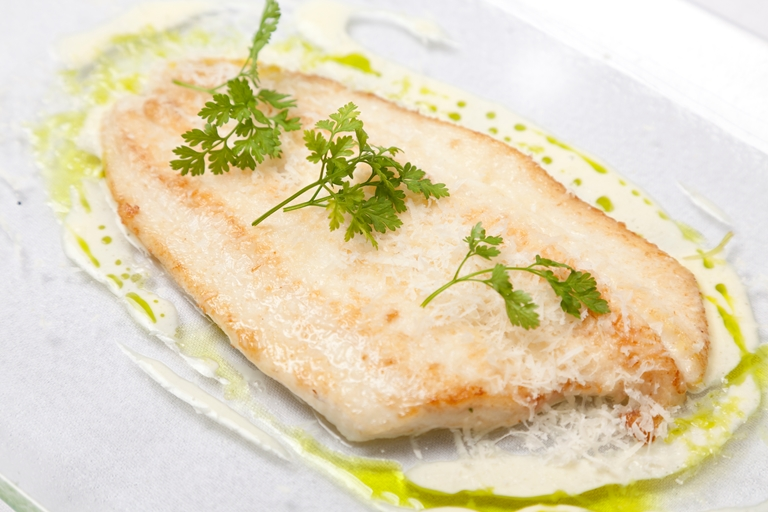 Lemon sole with Parmesan and cream