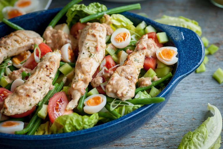 Peanut chicken summer salad