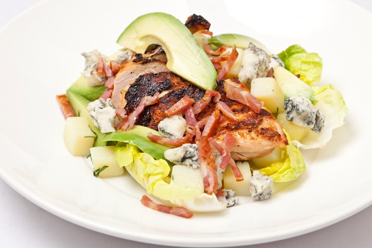 Chargrilled chicken, avocado and Gorgonzola salad
