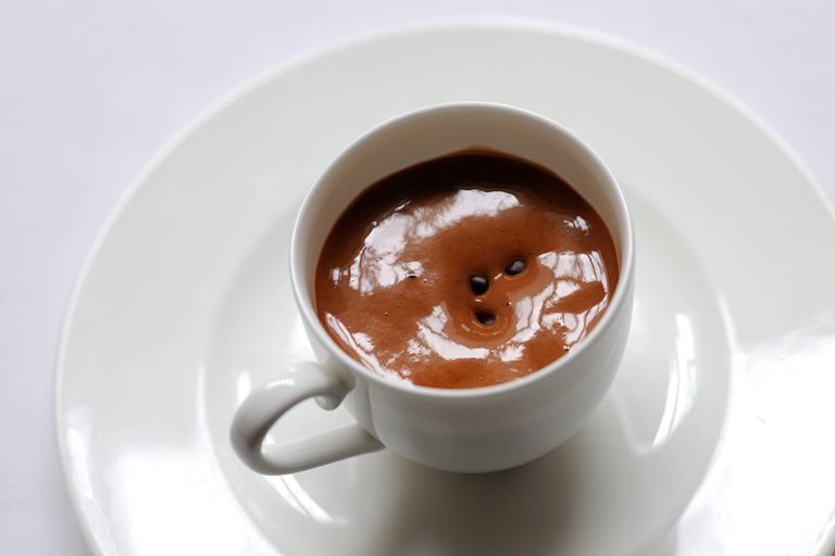 Warm milk chocolate emulsion