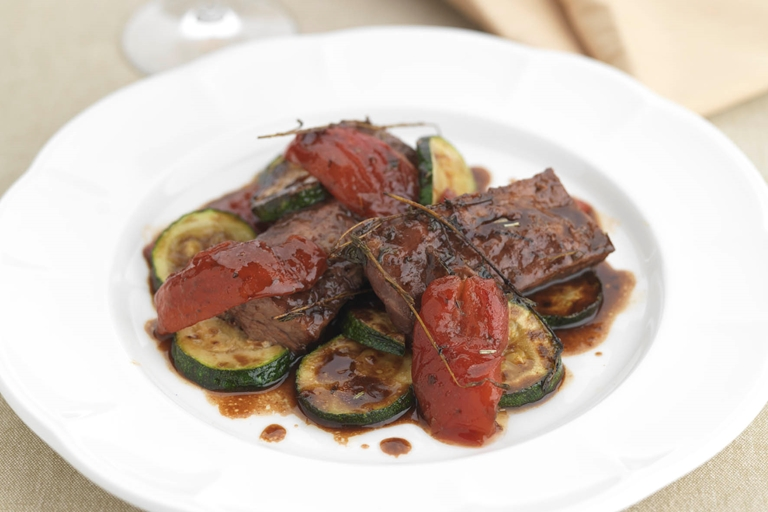 Beef braised in red wine with Provençal vegetables