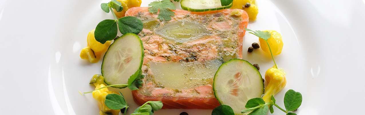 Smoked salmon terrine with leeks and confit potatoes