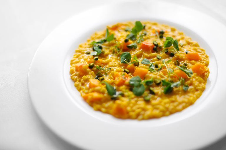 Spelt, barley and squash risotto