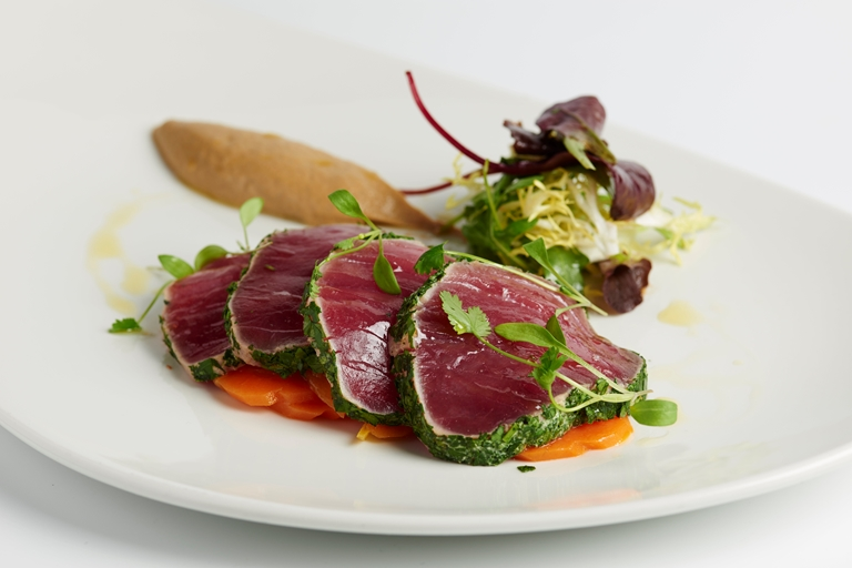 Escabeche of yellowfin tuna with aubergine purée and herbs