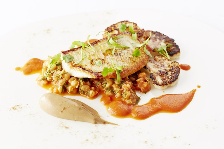 Turbot fillet, pearl barley, burnt cauliflower, tomato and garam masala sauce