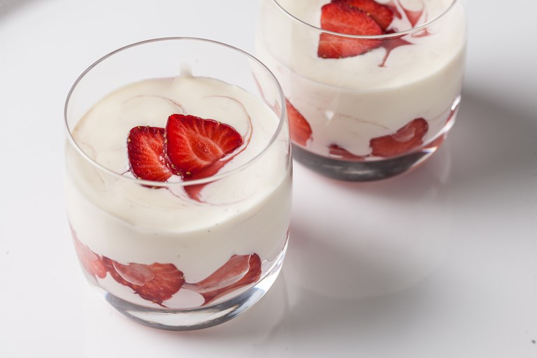 Strawberry and cream panna cotta
