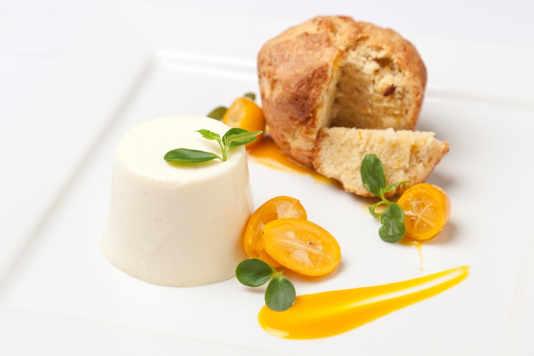 Kumquat panettone with orange blossom panna cotta and confit kumquats