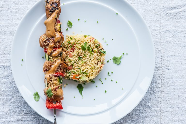 Moroccan spiced turkey kebabs with bulgur salad