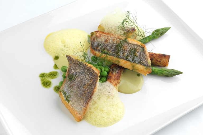 Wild sea bream, gnocchi, pea, asparagus and saffron