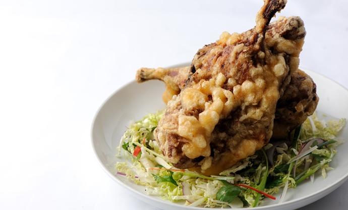 Crispy orange and maple whole fried duck