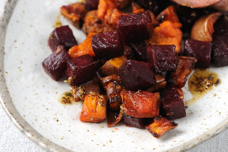 Roast beetroot and sweet potato